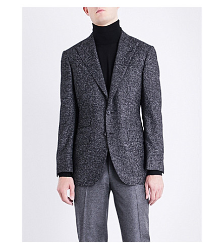 THOM SWEENEY Slim-fit houndstooth alpaca-blend jacket (Charcoal