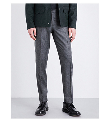 THOM SWEENEY Tailored-fit mid-rise wool and cashmere-blend trousers (Light+grey
