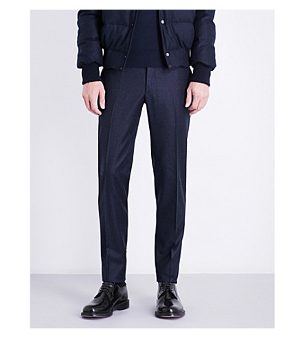 THOM SWEENEY Slim-fit tapered mid-rise wool and cashmere-blend trousers (Navy