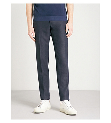 THOM SWEENEY Brook regular-fit straight linen trousers (Navy