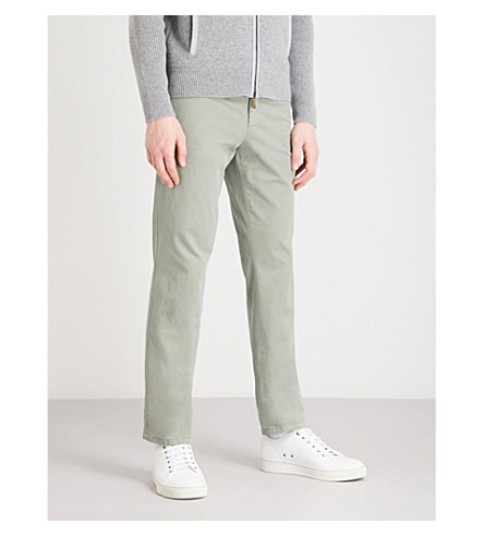 THOM SWEENEY Slim-fit cotton-blend chinos (Green