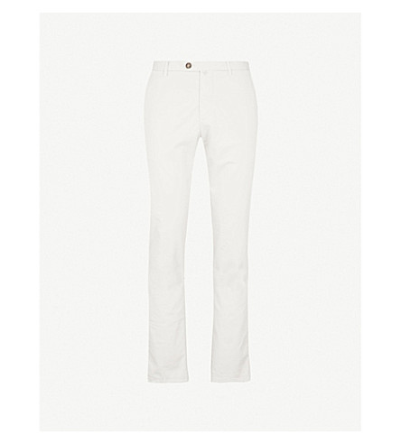 THOM SWEENEY Slim-fit cotton-blend chinos (Cream