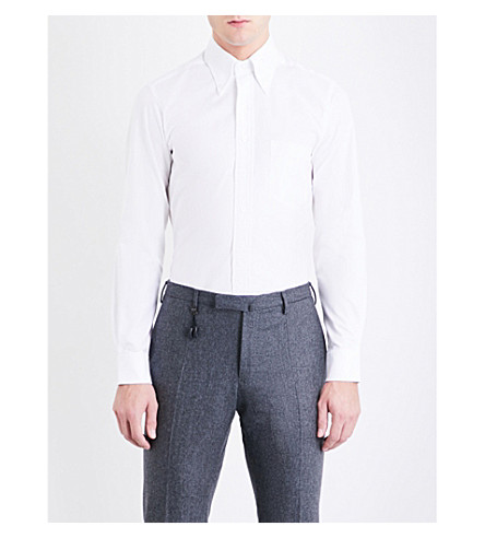 THOM SWEENEY Button-down regular-fit cotton Oxford shirt (White