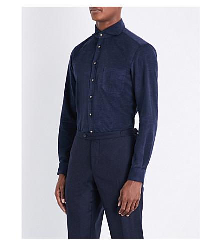 THOM SWEENEY Slim-fit cotton corduroy shirt (Navy