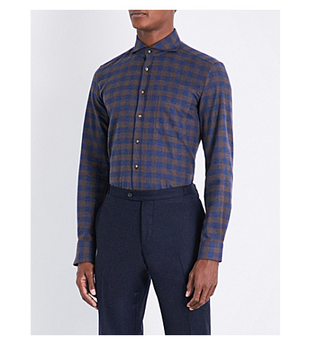 THOM SWEENEY Checked slim-fit brushed-cotton shirt (Blue/brown