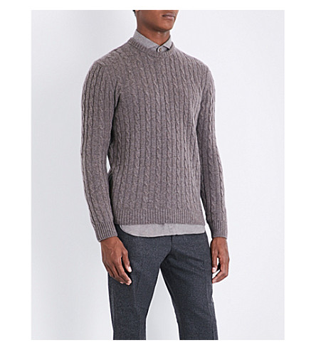 THOM SWEENEY Cable-knit cashmere jumper (Tan