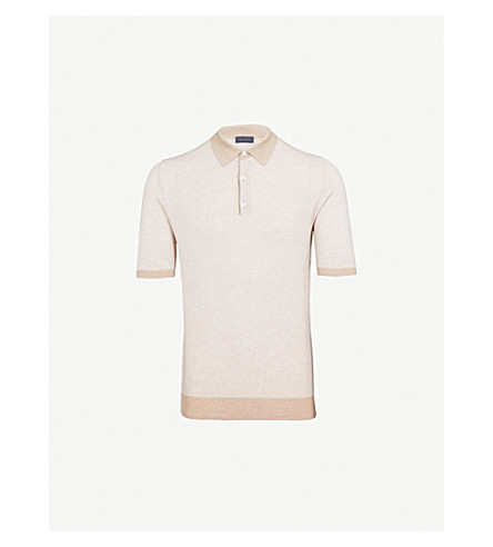THOM SWEENEY Tonal cotton polo shirt (Beige