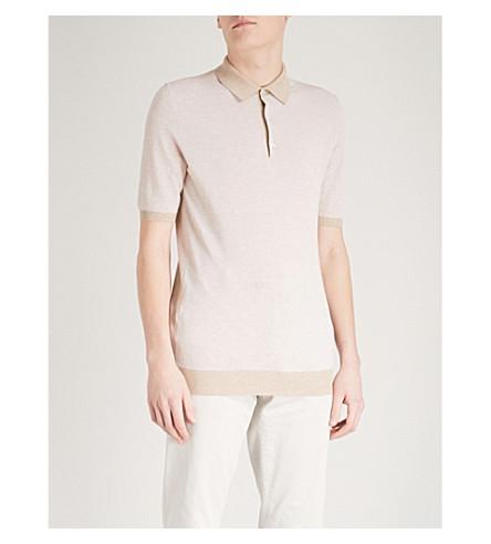THOM SWEENEY Tonal cotton polo shirt (Beige