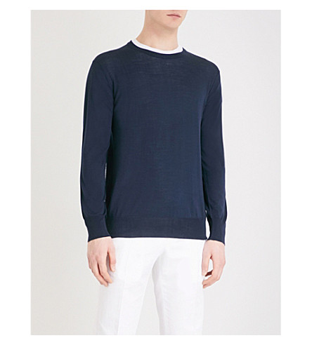 THOM SWEENEY Round-neck wool jumper (Navy