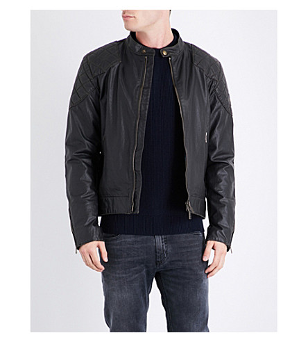 BELSTAFF Outlaw quilted-detail waxed cotton jacket (Black