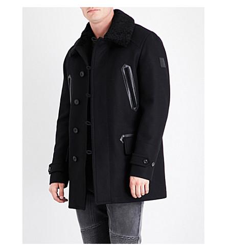 BELSTAFF Shearling collar wool-blend coat (Black