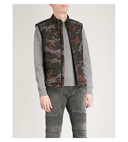 BELSTAFF Rodings camouflage quilted shell-down gilet (Orange+camo