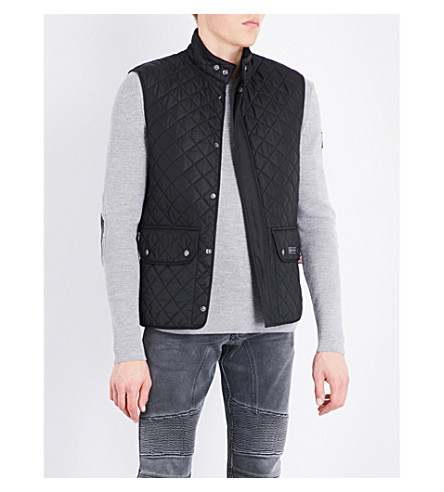 BELSTAFF Suede collar quilted shell vest (Black