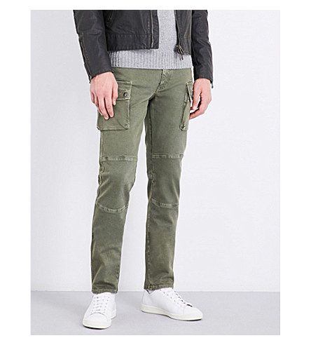 BELSTAFF Cargo slim-fit tapered stretch-denim jeans (Bay+leaf
