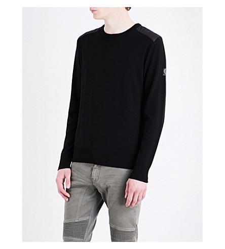 BELSTAFF Quilted-shoulders wool jumper (Black