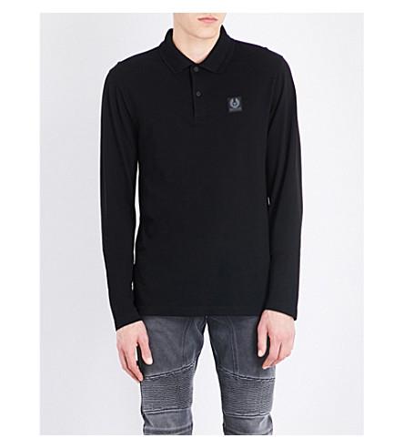 BELSTAFF Logo badge cotton-jersey polo shirt (Black