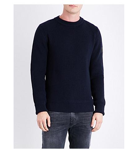 BELSTAFF Elbow-patch wool-blend jumper (Dark+ink