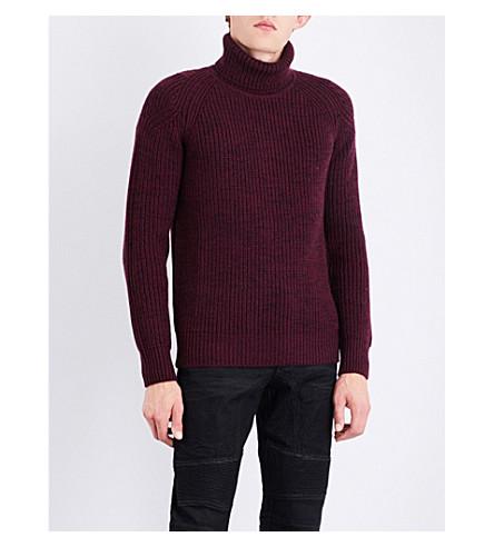 BELSTAFF Turtleneck wool jumper (Burgundy/black