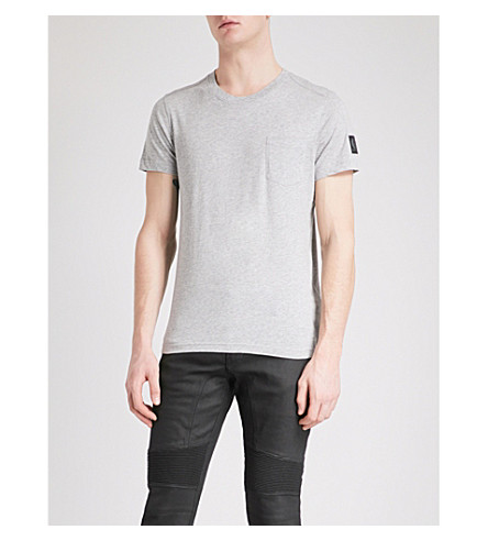 BELSTAFF Patch pocket cotton T-shirt (Grey+melange
