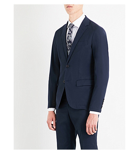 SEBIRO BY UNITED ARROWS Single-breasted cotton-blend blazer (Navy
