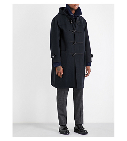 CAMOSHITA Hooded wool-blend duffle coat (Black