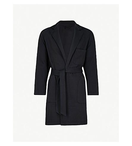 CAMOSHITA Draped wool and cotton-blend coat (Blue