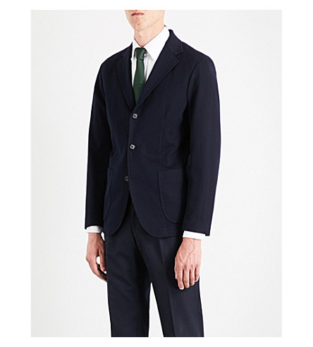 SEBIRO BY UNITED ARROWS Single-breasted houndstooth check cotton jacket (Navy
