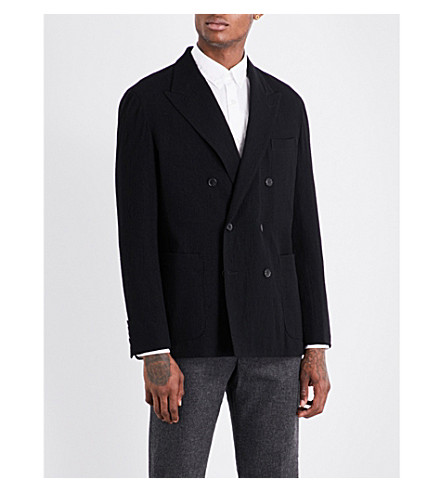 CAMOSHITA Double-breasted wool blazer (Black