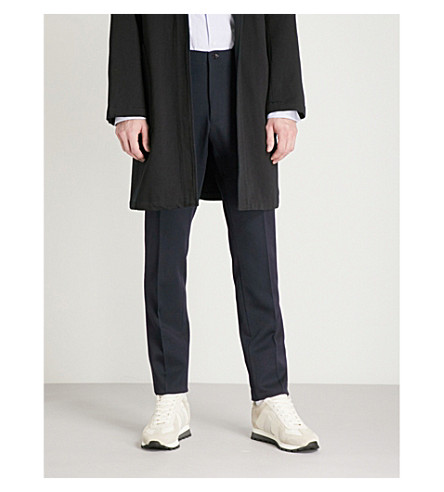 CAMOSHITA Regular-fit tapered wool trousers (Navy