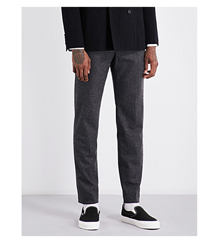 CAMOSHITA Slim-fit wool-blend trousers (Grey