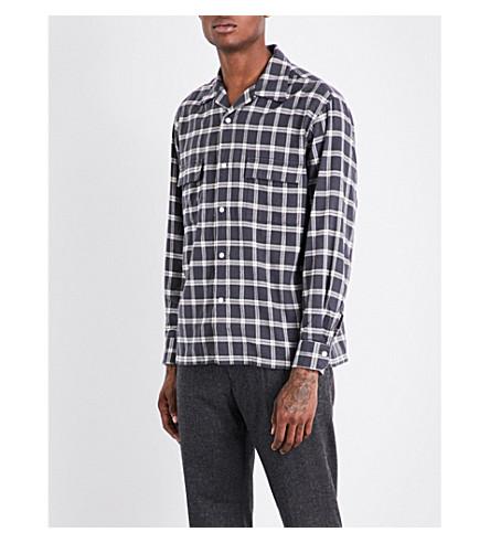 CAMOSHITA Plaid brushed-cotton shirt (Grey/white