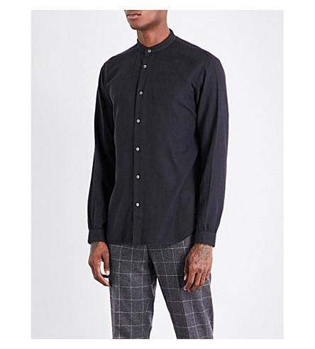 CAMOSHITA Collarless cotton-blend shirt (Black