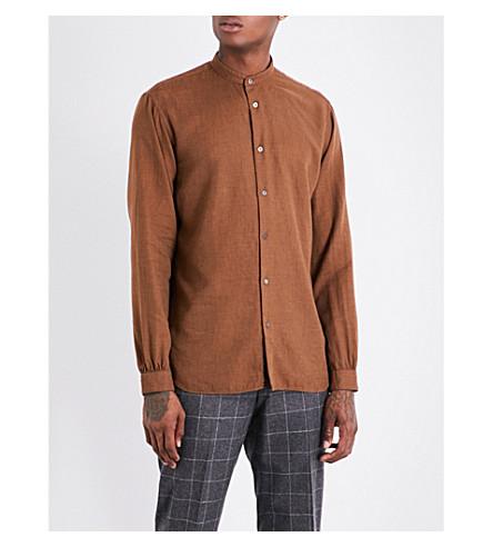 CAMOSHITA Nehru regular-fit cotton-blend shirt (Camel
