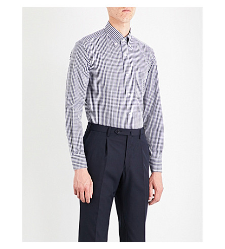 SEBIRO BY UNITED ARROWS Gingham cotton-poplin shirt (Navy/white
