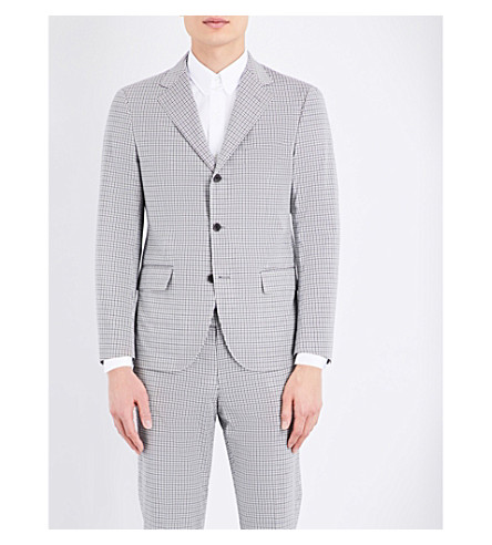 SEBIRO BY UNITED ARROWS Regular-fit checked cotton-blend jacket (Blue