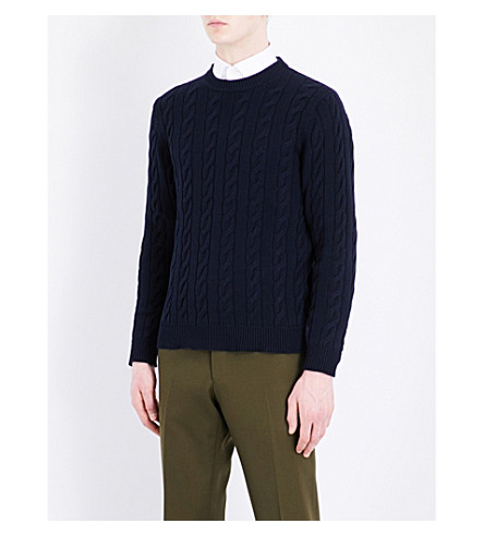 SEBIRO BY UNITED ARROWS Crewneck cable-knit cotton sweater (Navy