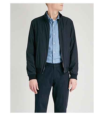 D'AVENZA Micro grid-pattern shell jacket (Navy
