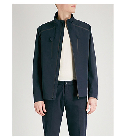 D'AVENZA Stand-collar cotton-blend sailing jacket (Navy