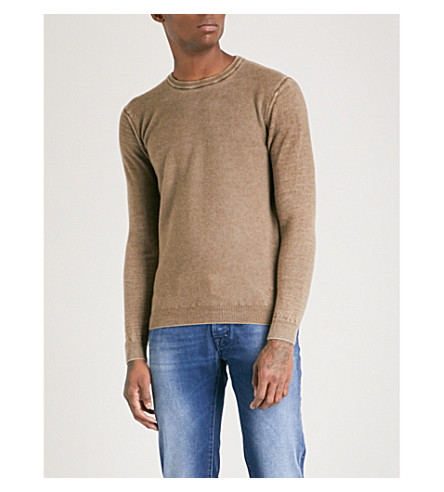 JACOB COHEN Crewneck ribbed wool jumper (Almond