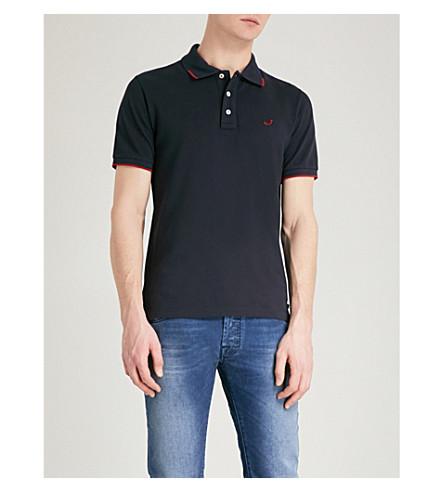 JACOB COHEN Logo-embroidered cotton-piqué polo shirt (Black