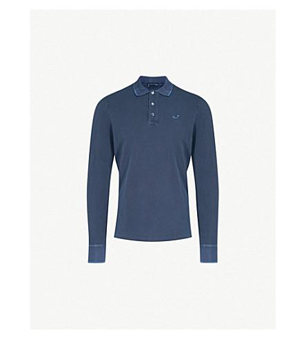JACOB COHEN Logo-embroidered cotton-jersey polo shirt (Blue+black