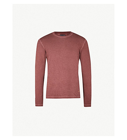 JACOB COHEN Logo-embroidered cotton-jersey T-shirt (Burgundy