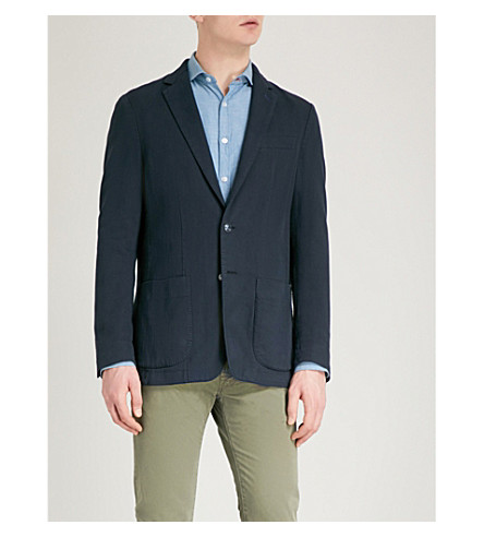 JACOB COHEN Tailored-fit cotton-blend jacket (Navy