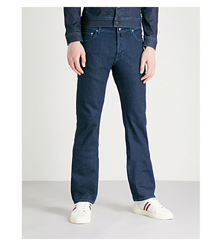 JACOB COHEN Tailored-fit straight stretch-denim jeans (Navy
