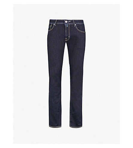 JACOB COHEN Faded tailored-fit tapered jeans (Navy