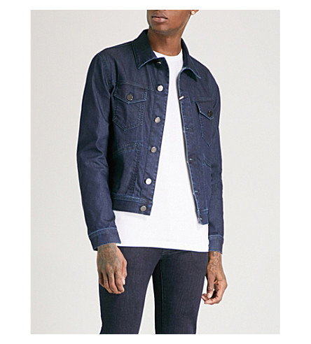 JACOB COHEN Camo-trimmed denim jacket (Blue