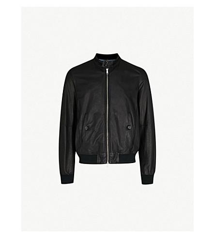 JACOB COHEN Denim-lined leather bomber jacket (Black