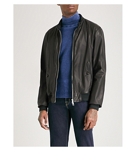 JACOB COHEN Denim-lined leather bomber jacket (Black