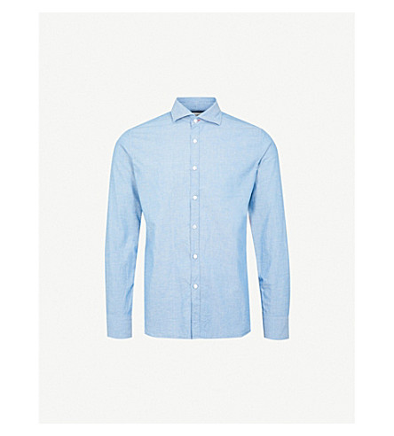 JACOB COHEN Regular-fit cotton-blend selvedge shirt (Blue