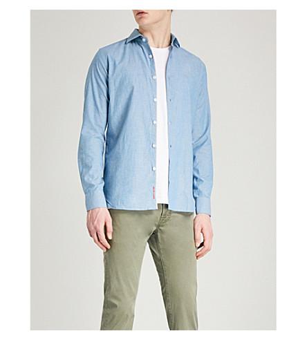 JACOB COHEN Regular-fit cotton-blend selvedge shirt (Blue